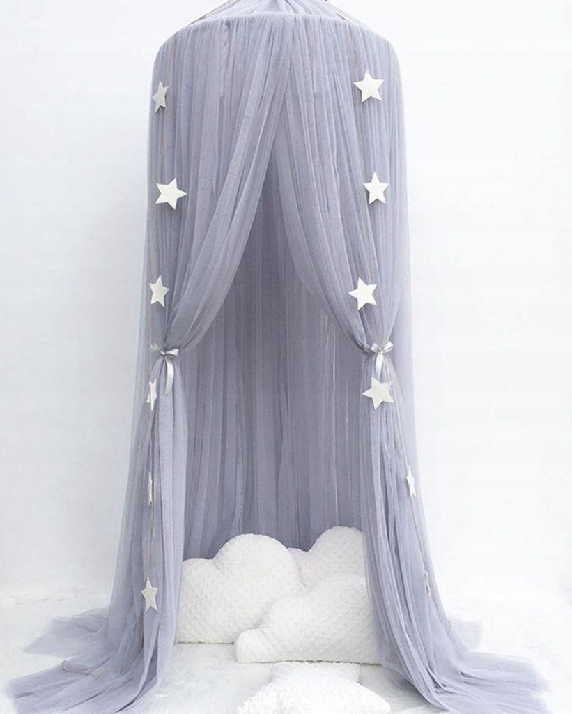 Luxusní nebesa nad postel (extra hustá) - šedá