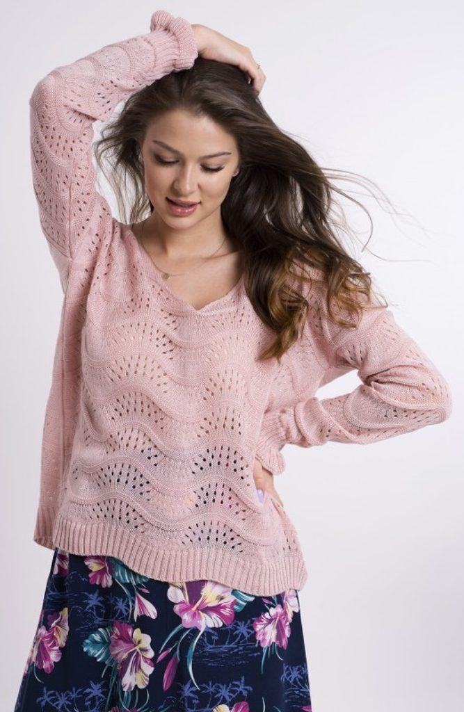 Dámský svetřík s vlnkovým vzorem - UNI (S-L)  Pink