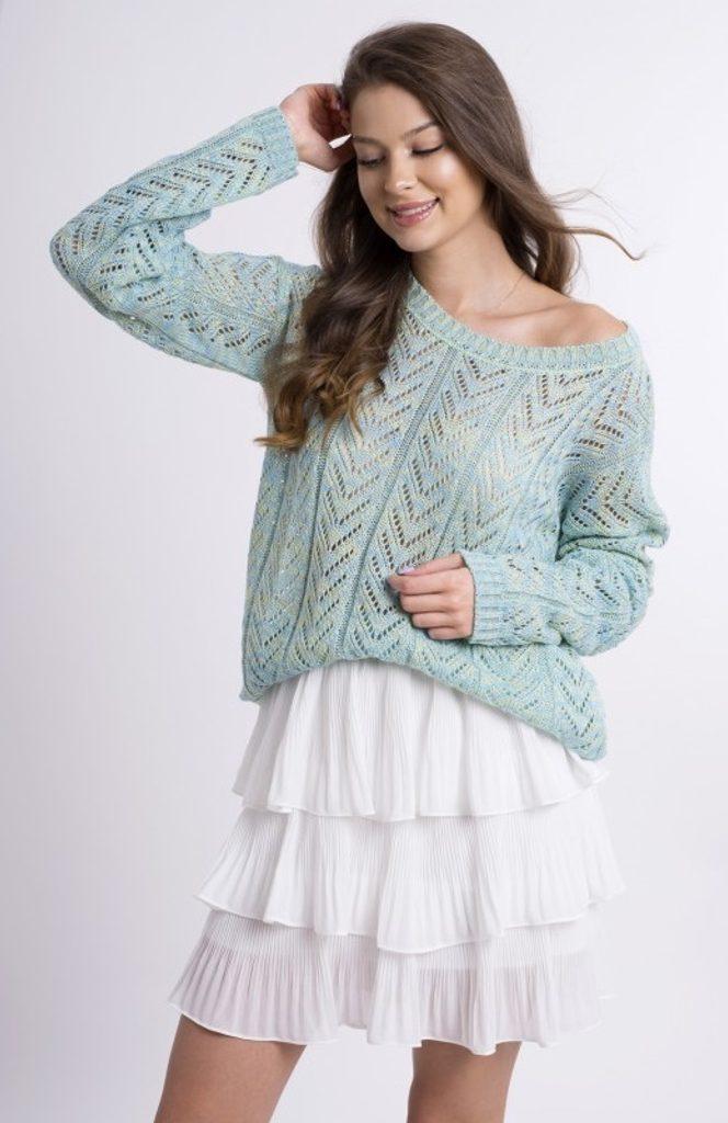 Dámský svetřík se vzorem - UNI (S-L)  Mint