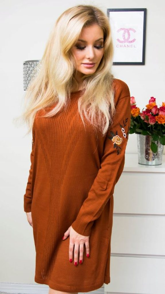 Luxusní šaty s výšivkou - brown - S/M