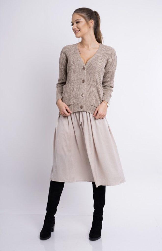 Dámský svetr na knoflíky - UNI (S-L)  Mocca