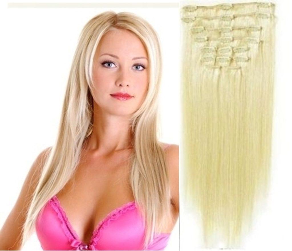 Clip-in k prodloužení 50cm, přírodní blond, Deluxe 80g