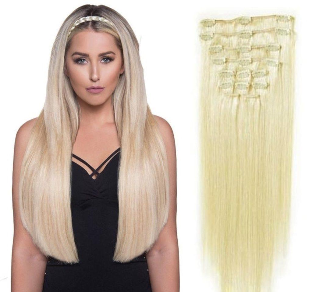 CLIP IN vlasy - 100% Lidské vlasy k prodloužení REMY, platinová Blond - extra dlouhé 60cm