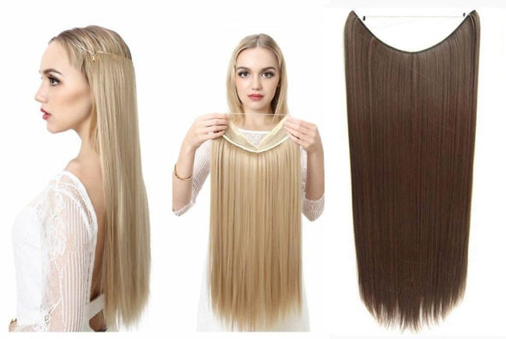 FLIP IN vlasy - 100% Lidské vlasy k prodloužení REMY, středně hnědá
