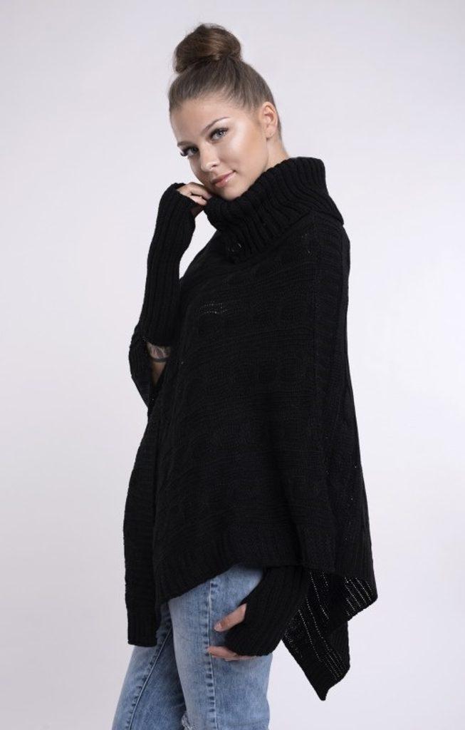 Dámské pletené pončo se sundávajicími rukavicemi - UNI (S-L)  Black
