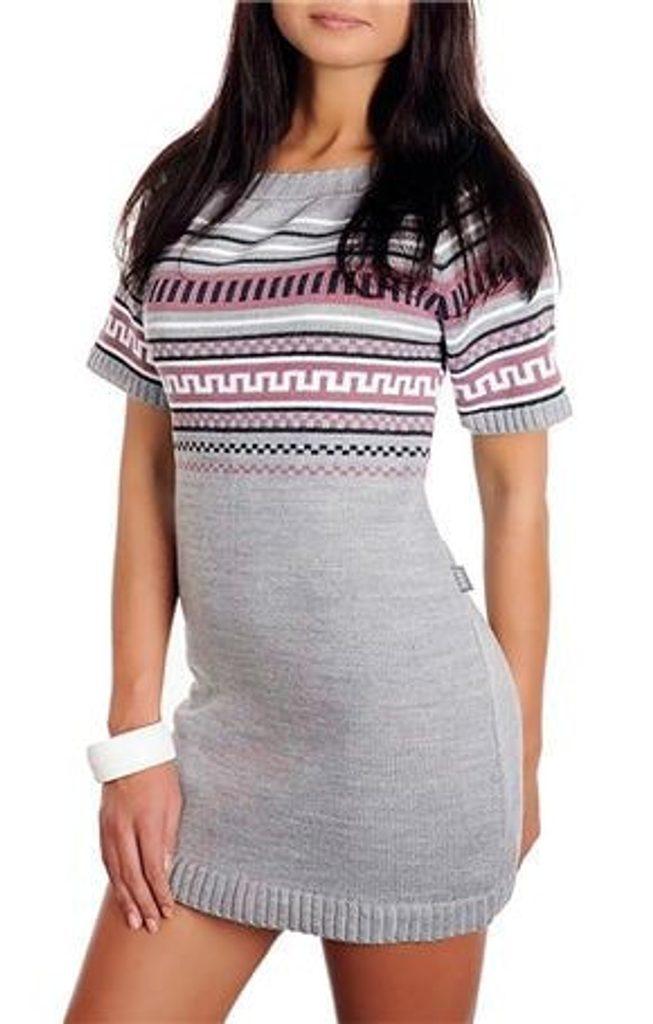 Dámské pletené šaty - UNI (S-L)  Grey