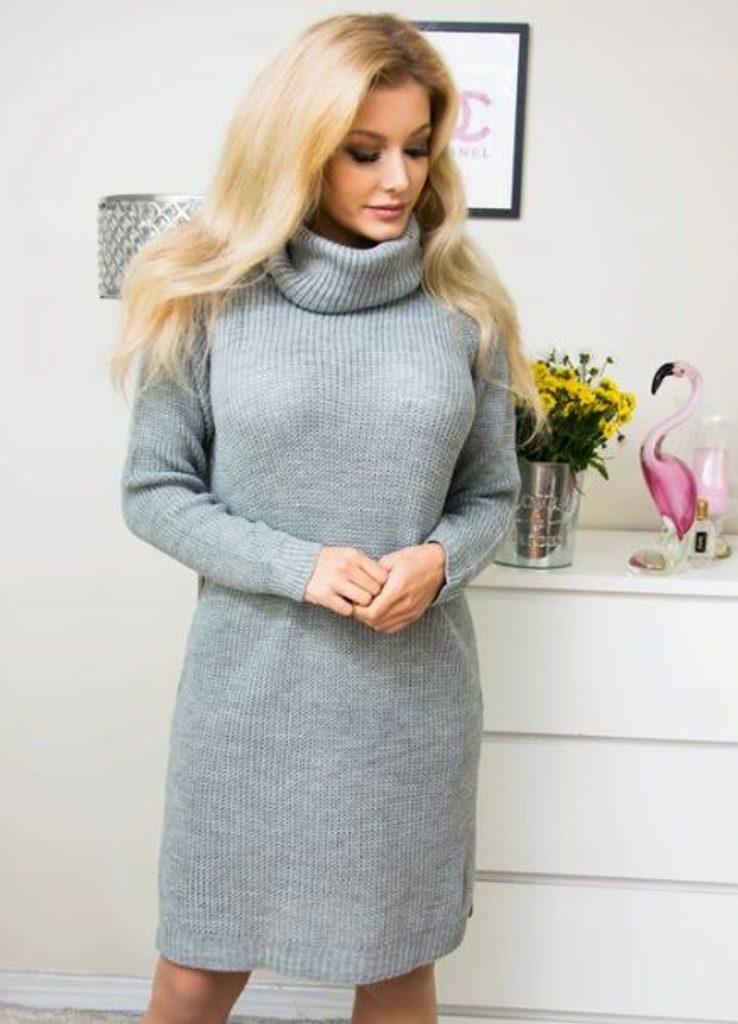 Dámské hřejivé šaty s rolákem - více barev - grey