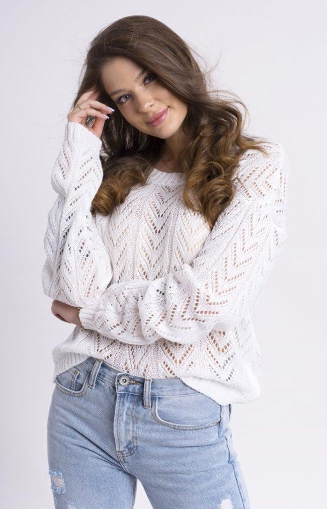 Dámský svetřík se vzorem - UNI (S-L)  White
