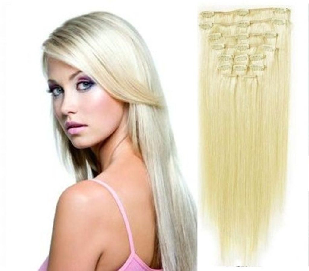 CLIP IN vlasy - 100% Lidské vlasy k prodloužení REMY, platinová Blond II. jakost