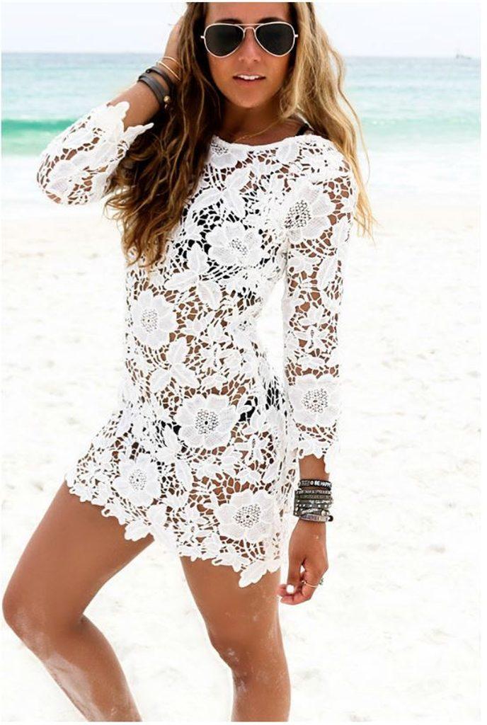 Luxusní krajková tunika - UNI (S-L)  White