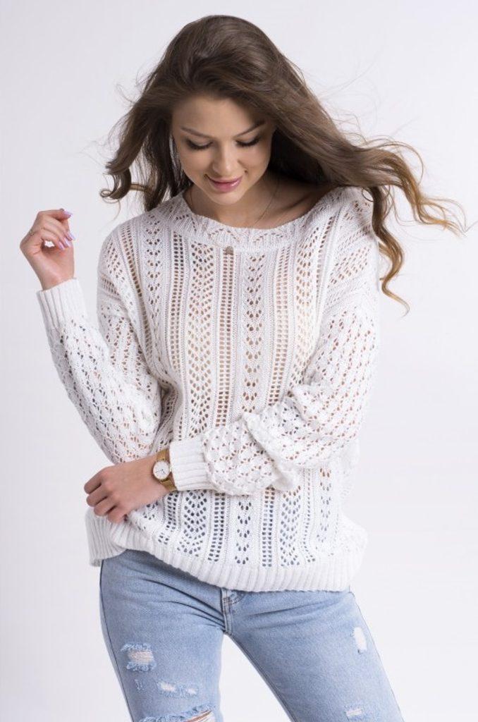 Dámský vzorovaný svetřík - UNI (S-L)  White
