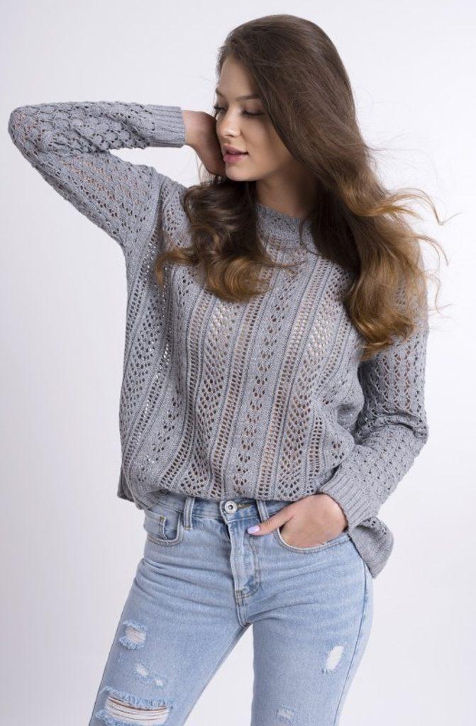 Dámský vzorovaný svetřík - UNI (S-L)  Grey