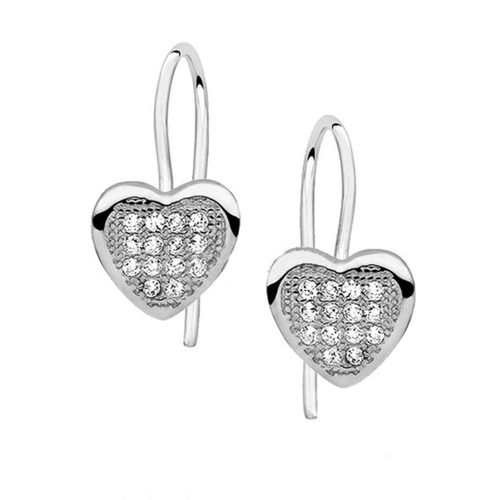 Stříbrné náušnice Heart se Swarovski Elements Zirconia