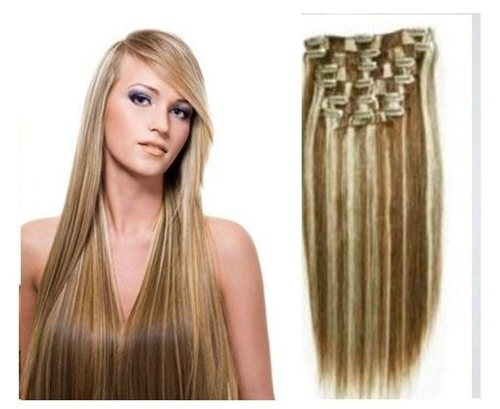 CLIP IN vlasy - 100% Lidské vlasy k prodloužení REMY, melírované 4/613