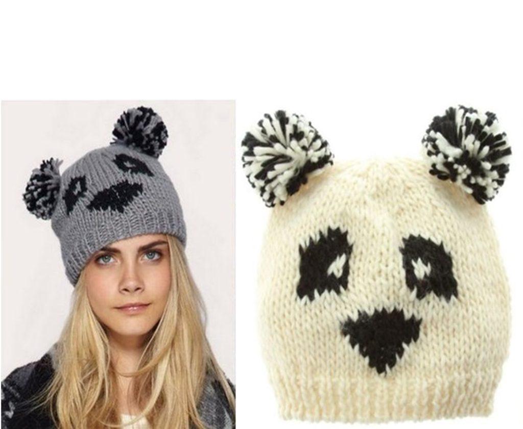 Dámská pletená čepice panda - ecru