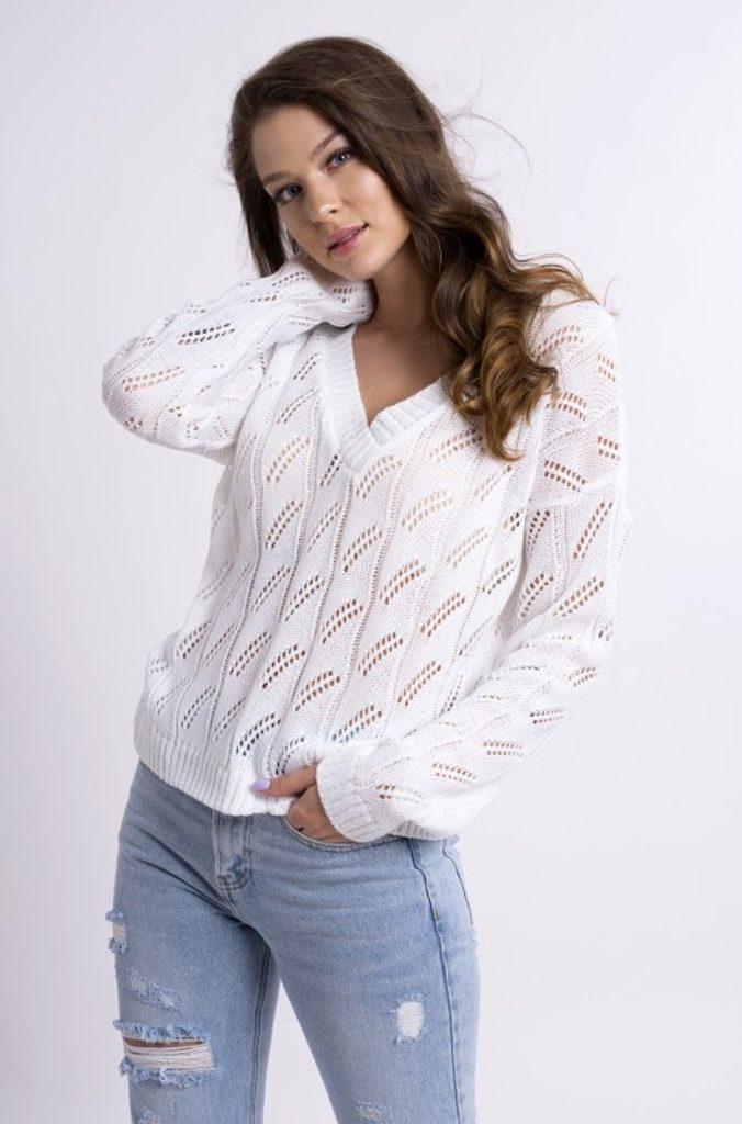 Dámský svetřík se vzorkem - UNI (S-L)  White