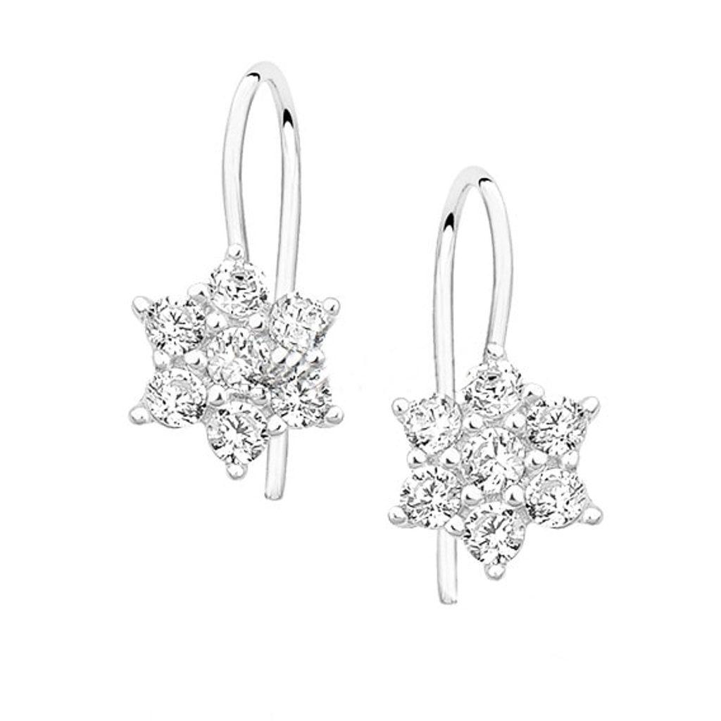 Stříbrné náušnice květina