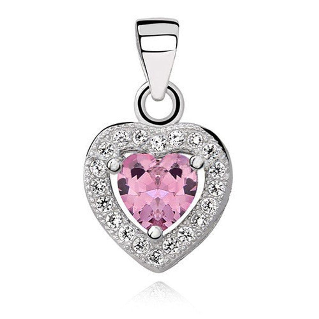 Stříbrný přívěsek Heart - pink