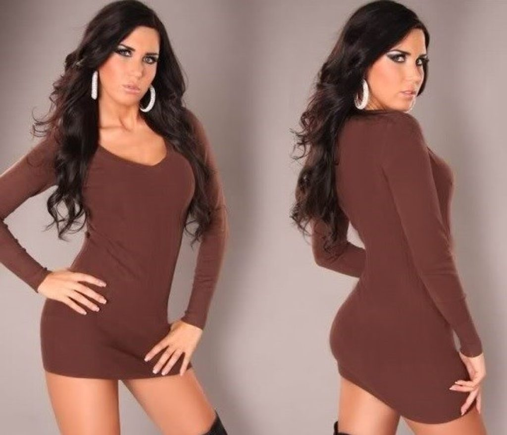 Módní sexy tunika - UNI (S-L)  Brown
