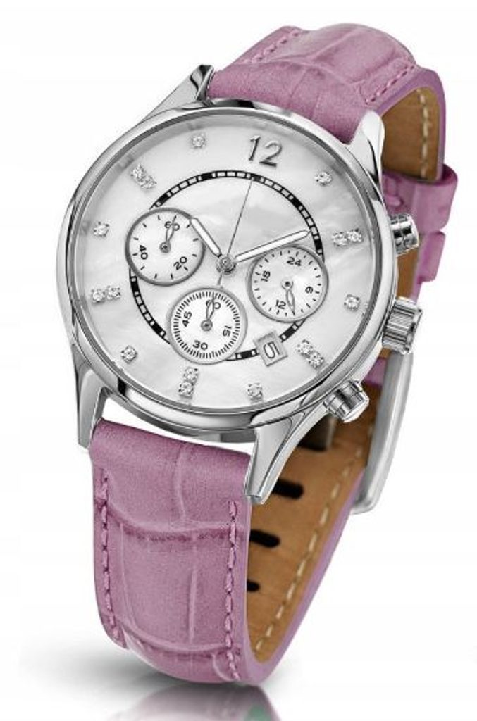 Oslnivé hodinky Geneva Pearl Swarovski stříbrné - pink