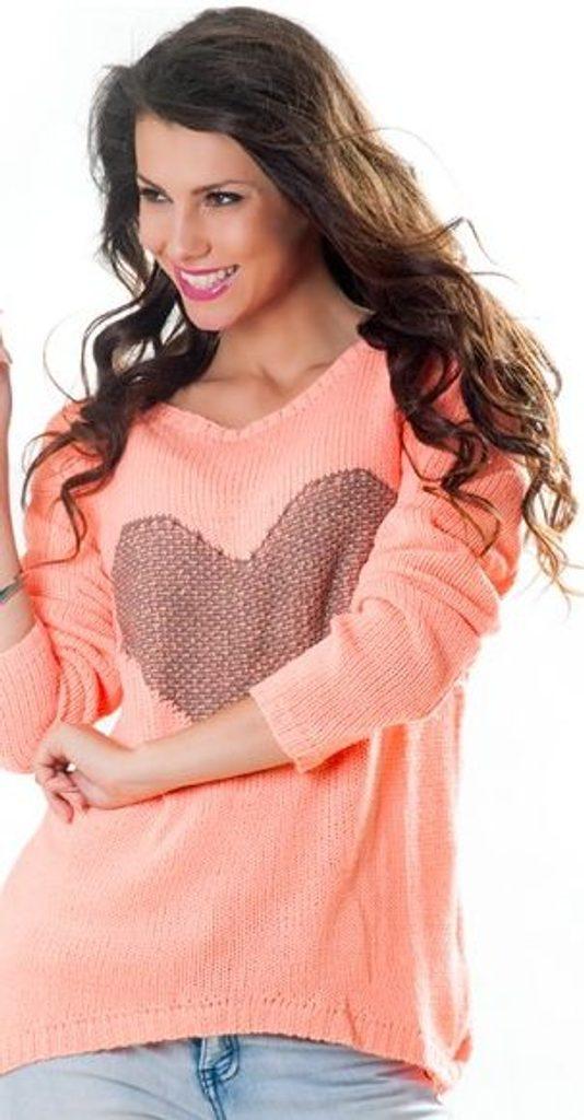 Dámský pulovr se srdíčkem - UNI (S-L)  Peach