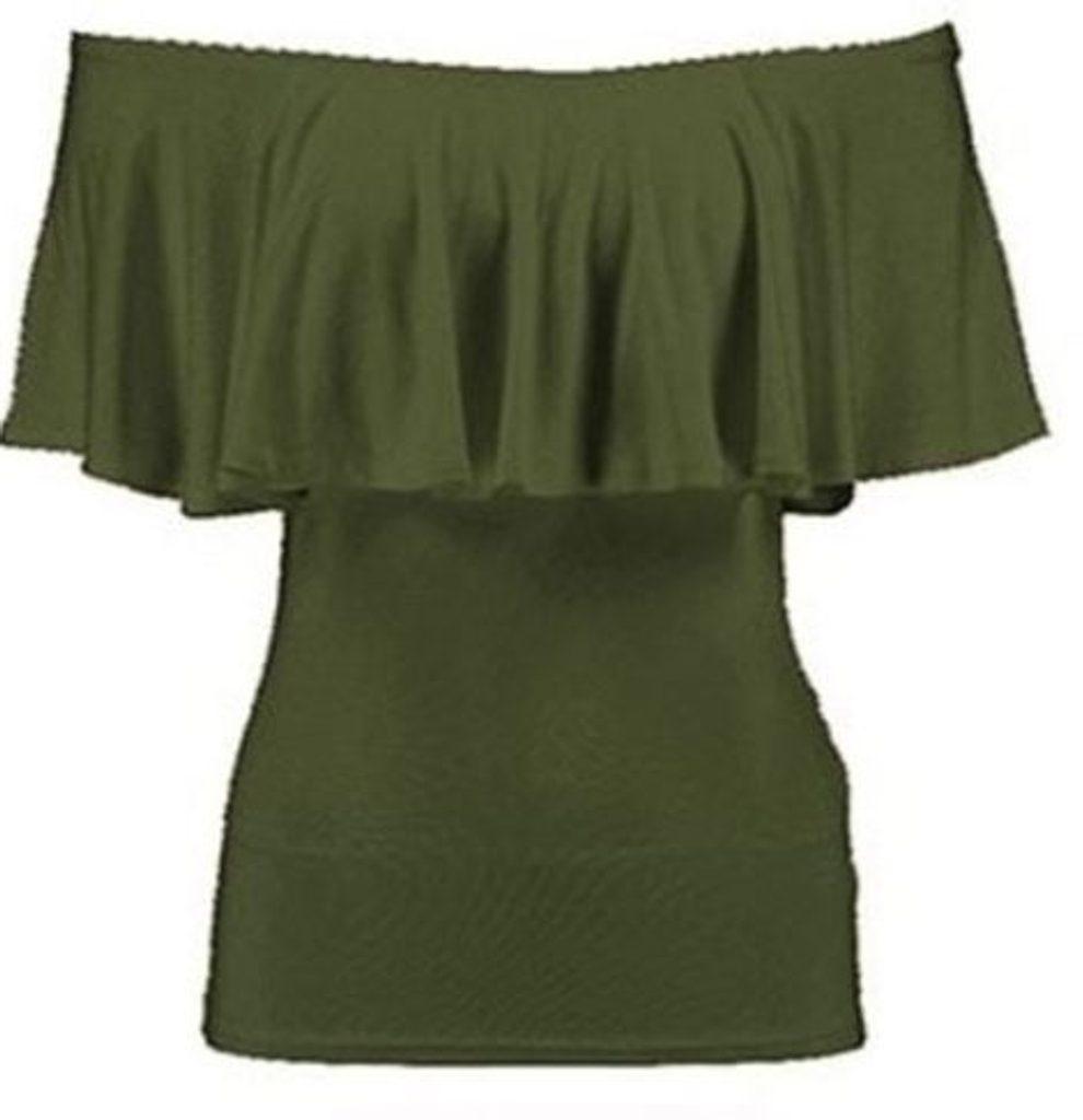 Dámský top s volánkem - UNI (S-L)  Khaki