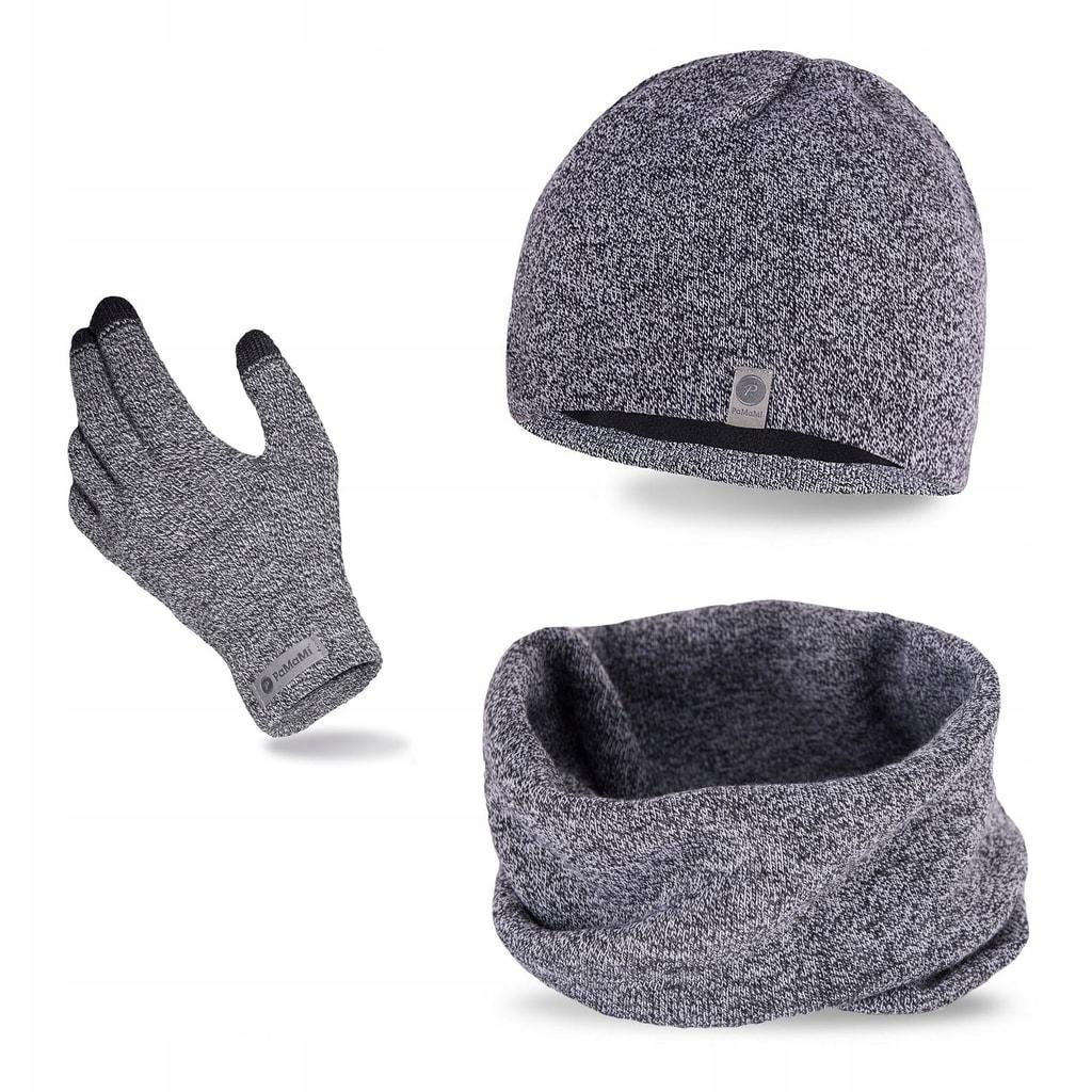 Luxusní pánská sada - čepice, tunel, rukavice - light grey