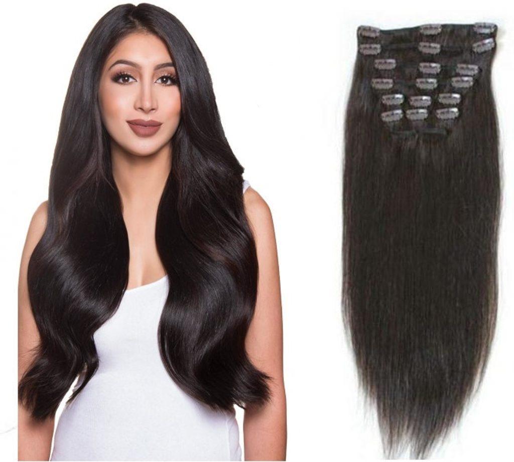 CLIP IN vlasy - 100% Lidské vlasy k prodloužení REMY, tmavě hnědá - extra dlouhé 60cm