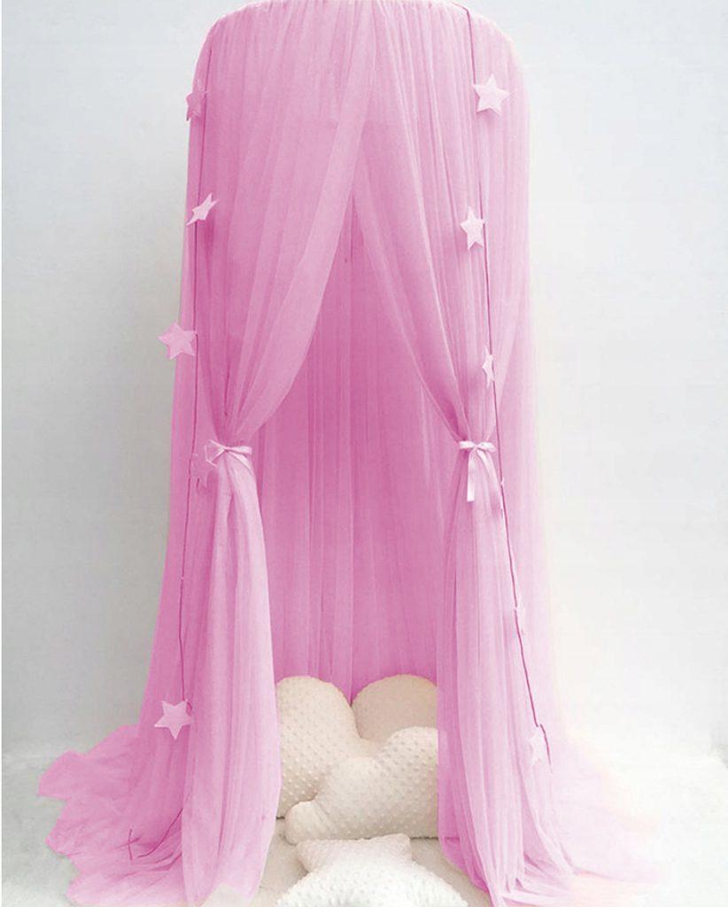 Luxusní nebesa nad postel (extra hustá) - růžová