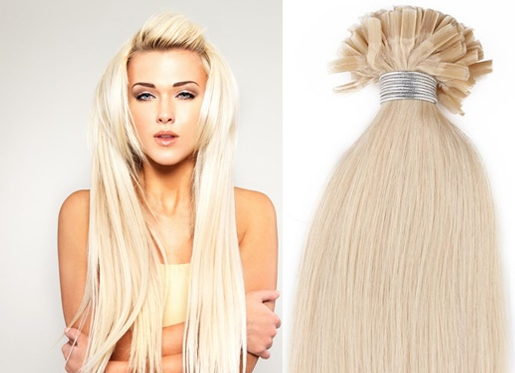 KERATIN- 100% Lidské vlasy k prodloužení REMY, platinová Blond 46,55,60cm - 65cm
