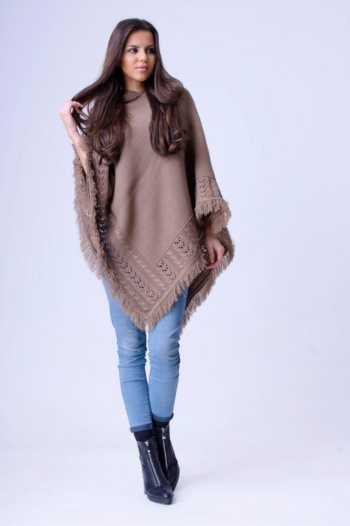 Luxusní pončo s kapucí a třásněmi - UNI (S-L)  Mocca