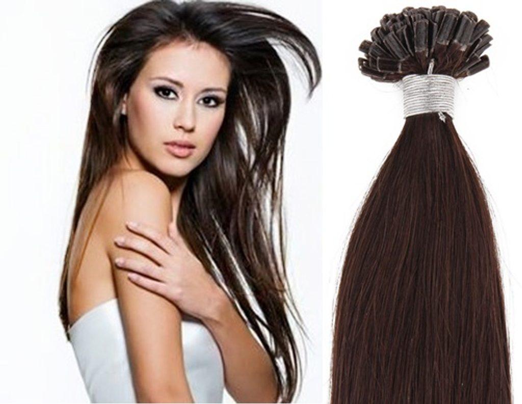 KERATIN- 100% Lidské vlasy k prodloužení REMY, tmavě hnědé 46,55,60cm - 60cm