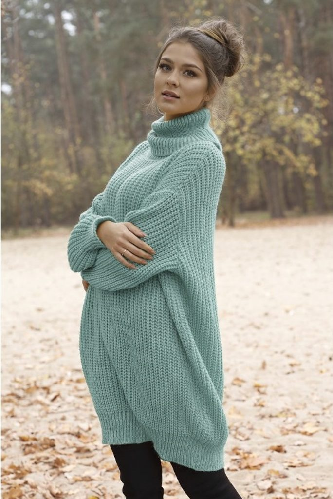 Dámské rolákové šaty - UNI (S-L)  Mint