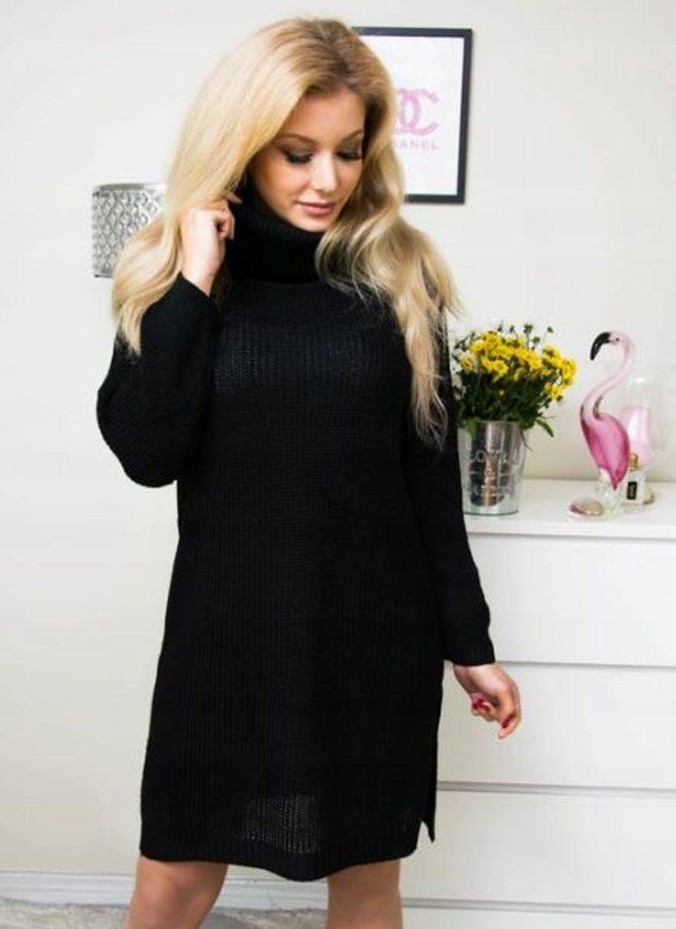 Dámské hřejivé šaty s rolákem - více barev - black