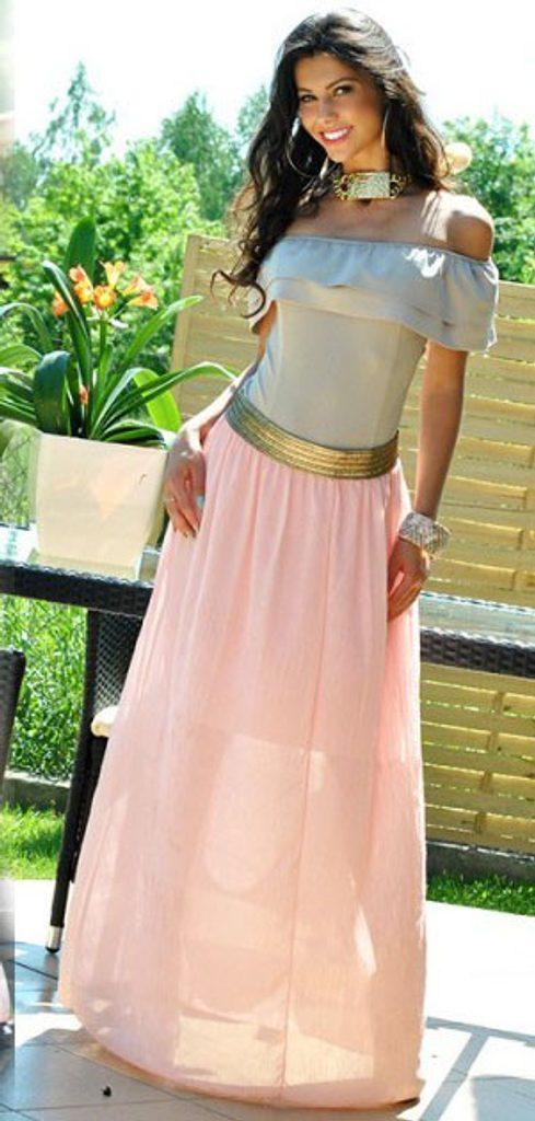 Dámská sukně se zlatým pasem - UNI (S-L)  Peach