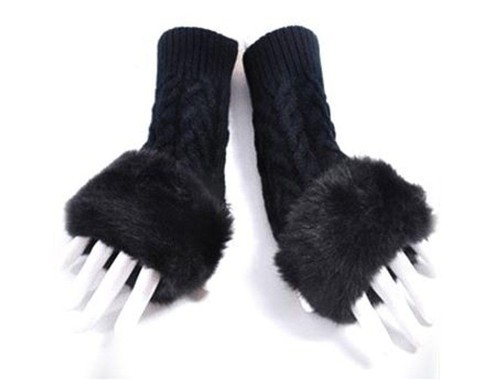 Luxusní rukavice s kožíškem - Black
