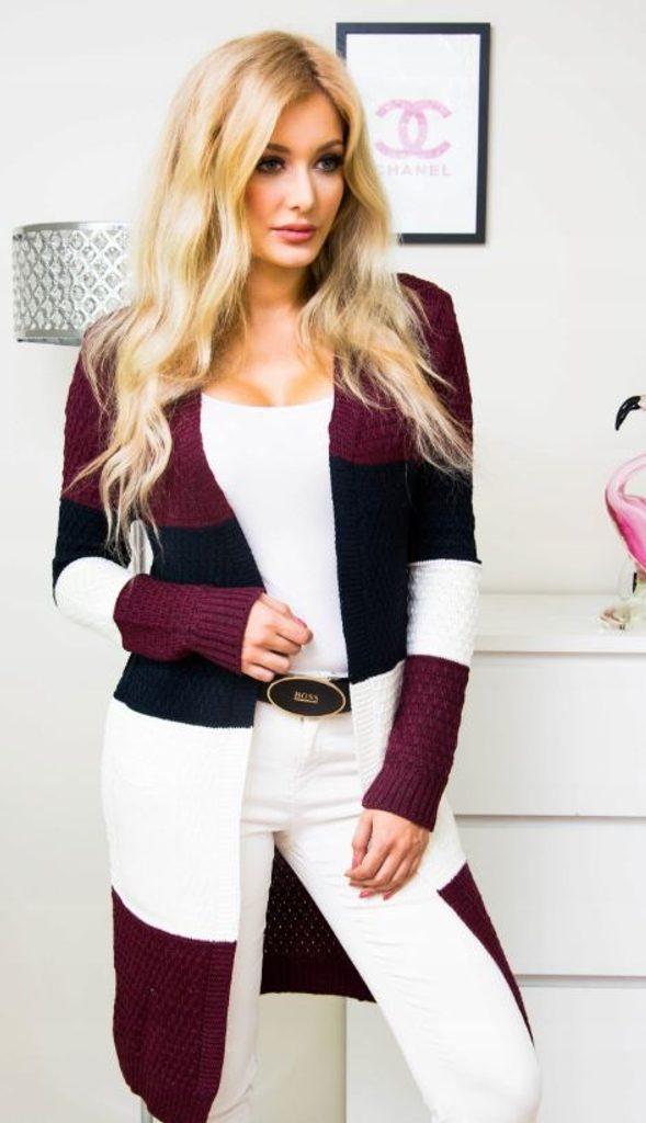 Luxusní pruhovaný svetr - UNI (S-XL)  Bordó