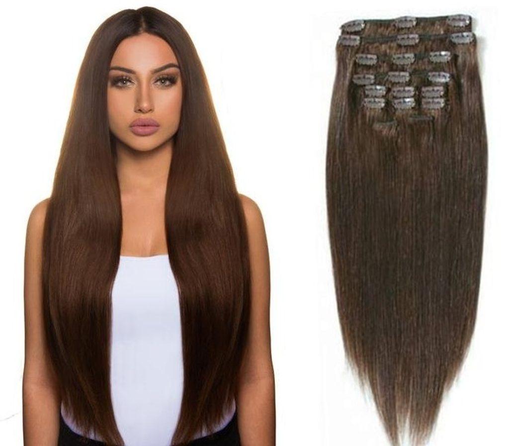 CLIP IN vlasy - 100% Lidské vlasy k prodloužení REMY, středně hnědá - extra dlouhé 60cm
