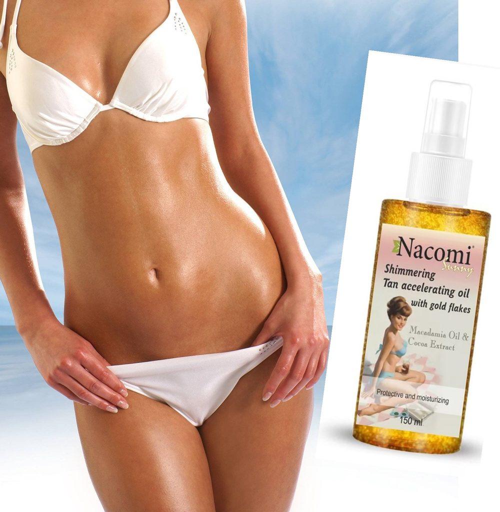 100% Přírodní olej se třpytkami na opálení Nacomi