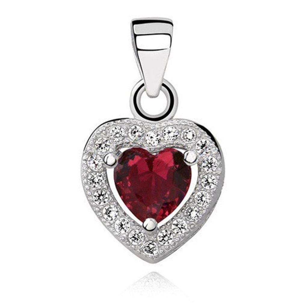 Stříbrný přívěsek Heart - red