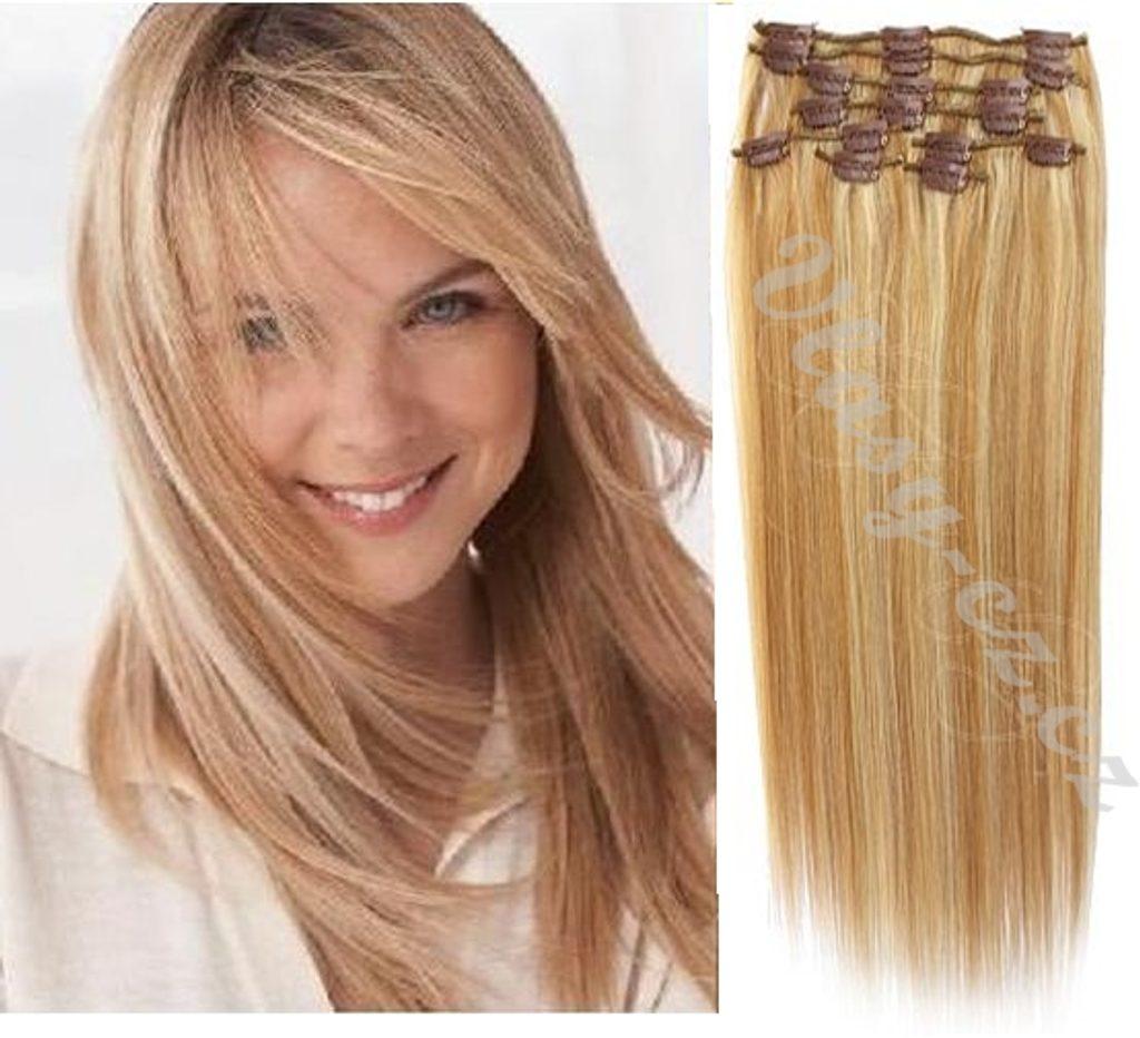 CLIP IN vlasy - 100% Lidské vlasy k prodloužení REMY, melírované 12/613