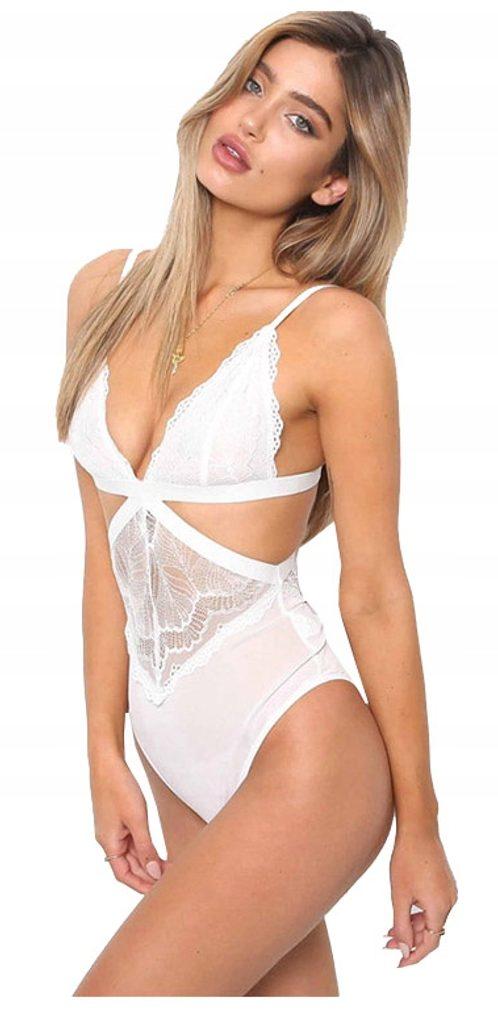 Dámské sexy krajkové body - white - S/M