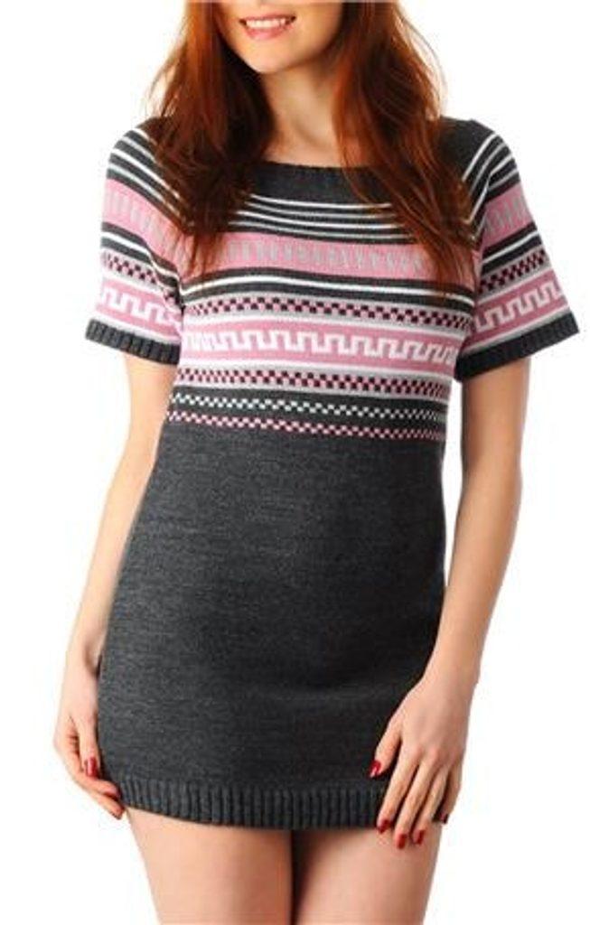 Dámské pletené šaty - graphit - UNI (S-L)