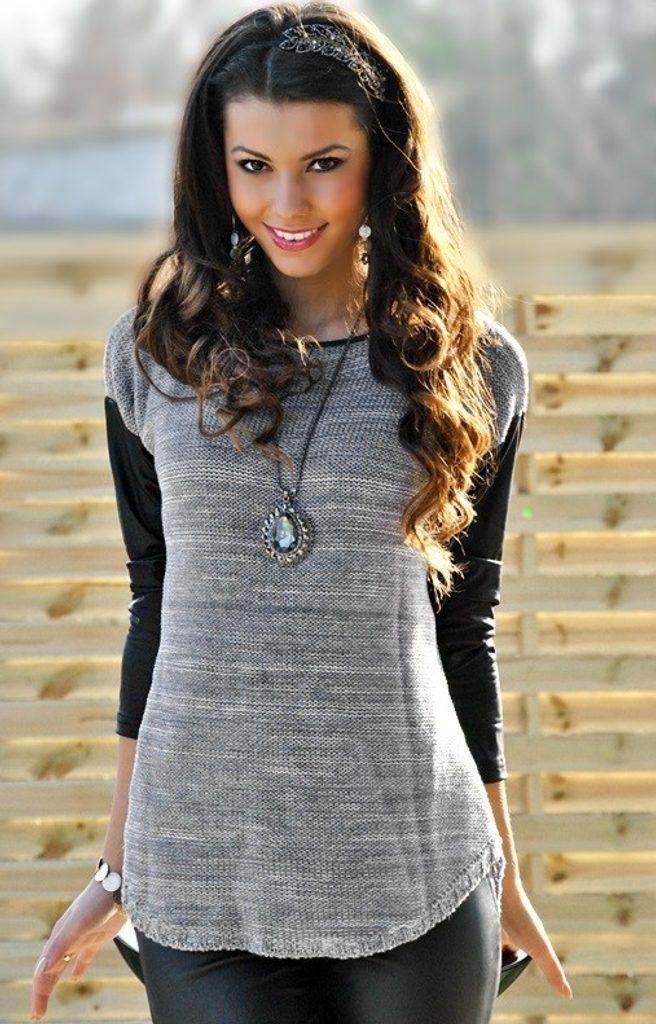 Luxusní dámský svetr s rukávy z eko kůže - UNI (S-L)  Grey