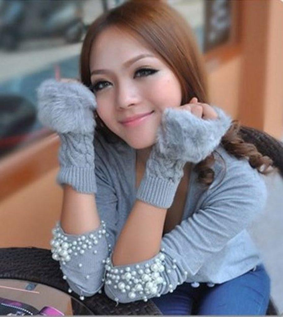 Luxusní rukavice s kožíškem - Grey