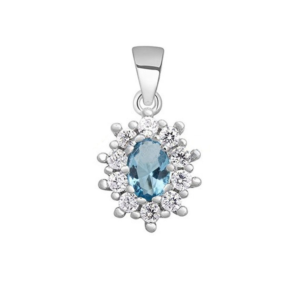 Nádherný stříbrný oválný přívěsek - aquamarine