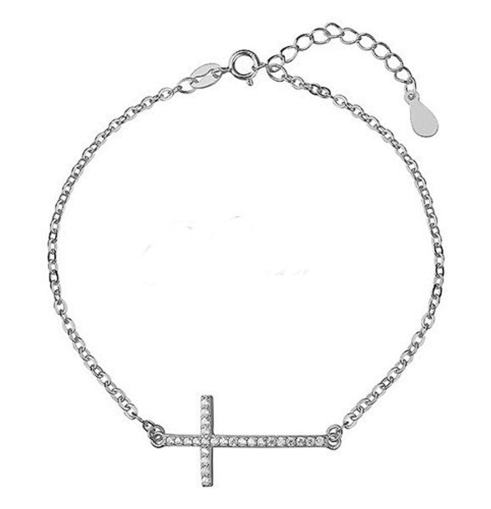 Stříbrný náramek s kžížkem - 16 - 19 cm