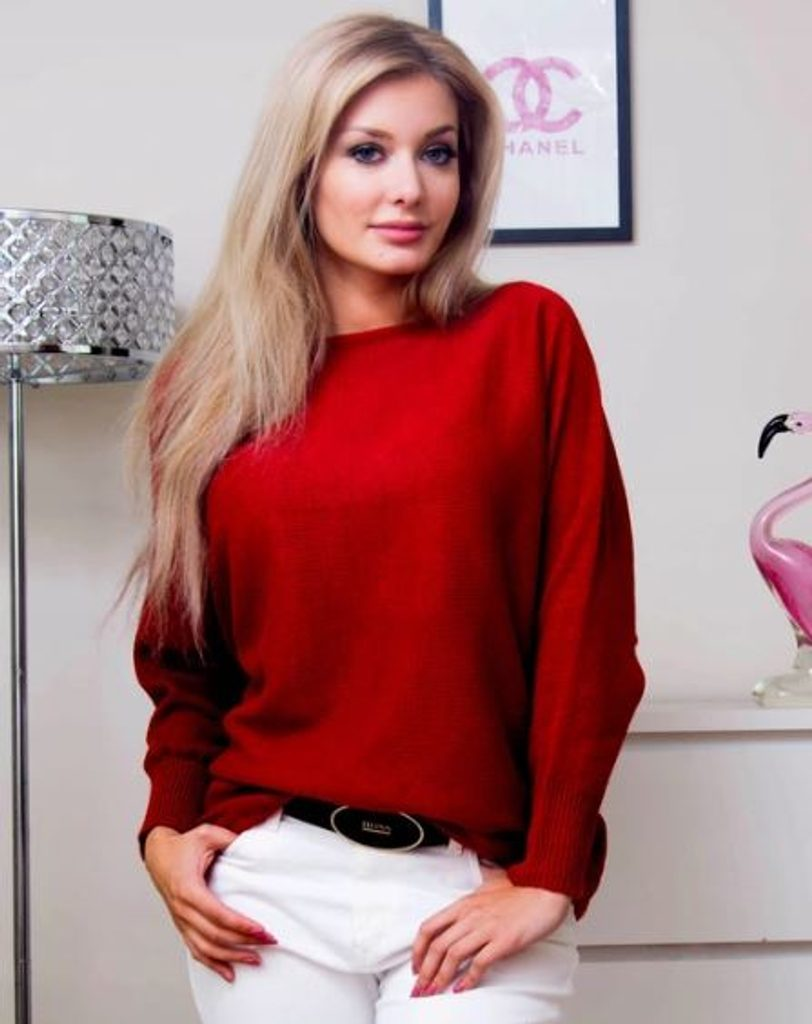Dámský oversize svetřík - UNI (S-L)  Red