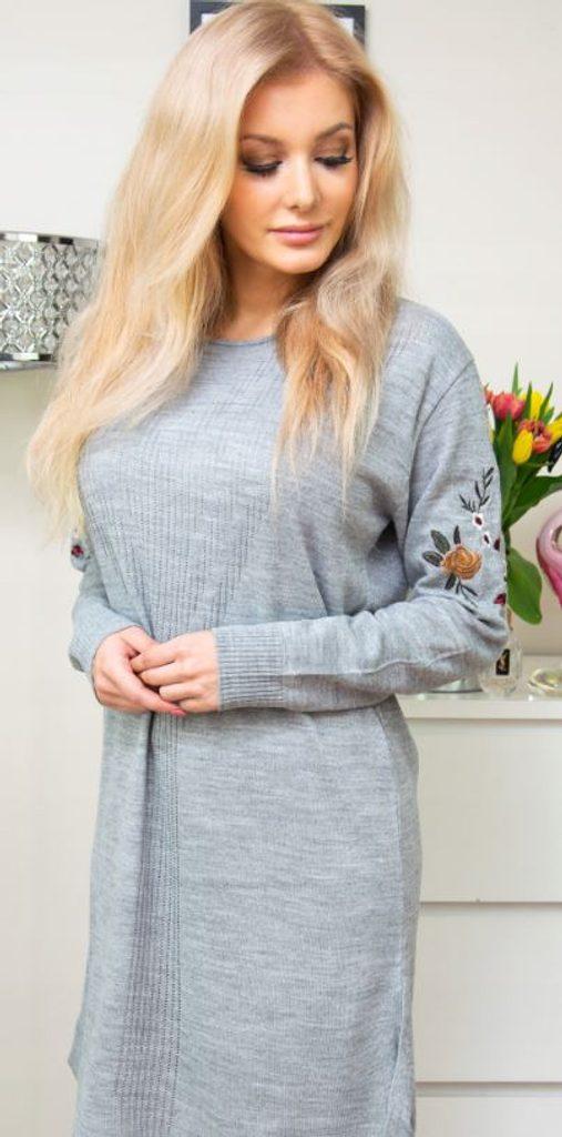 Luxusní šaty s výšivkou - grey - S/M