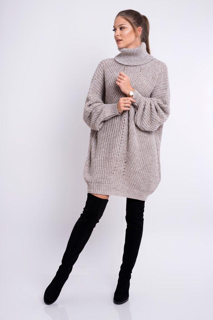 Dámské pletené šaty s rolákem - mocca - UNI (S-L)